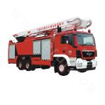 All-foam and multi-extinguishant water tower fire truck