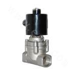 Threaded connection of piston pilot gas solenoid valve