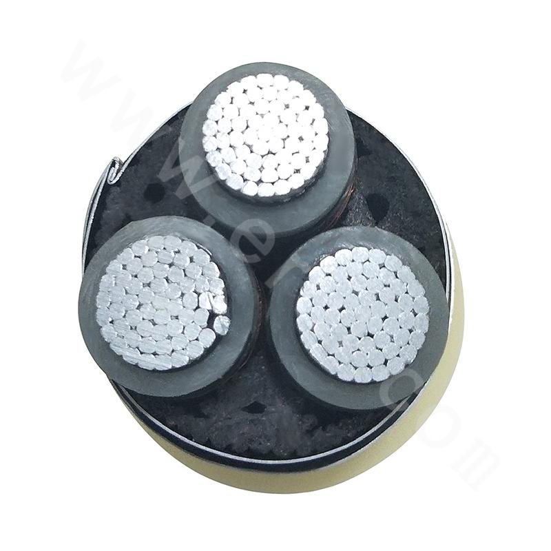 Three-core Aluminum 3.6-6KV Cross-linked Polyethylene Insulated Steel Strip Armored PE Sheathed Power Cable