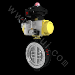 Pneumatic driven butterfly-valve with metal forceful sealing